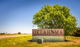 Welcome to Oklahoma road sign on I-40 stock image