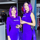 BenQ image Girls at photoforum trade show and exhibition. Moscow, Russian Federation - April 22, 2017: BenQ image Girls at photoforum trade show and exhibition Royalty Free Stock Photos