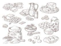 Bens de padaria tirados m?o Ovos do leite de manteiga e ingredientes da farinha, manteiga e sanduíches culinários do pão Vetor is ilustração do vetor