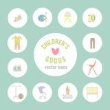 Bens do bebê Teste padrão de ícones dos bens do bebê Ícones lisos das crianças Ícones lisos em edições criança-relacionadas Grupo Fotografia de Stock Royalty Free