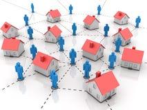 Bens imobiliários - casa com povos ilustração do vetor