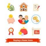 Bens imobiliários, hipoteca da casa, empréstimo, ícones de compra Imagem de Stock Royalty Free