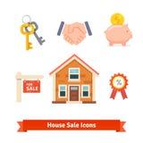 Bens imobiliários, hipoteca da casa, empréstimo, ícones de compra Imagens de Stock