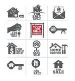 Bens imobiliários para o grupo do ícone da venda Foto de Stock Royalty Free