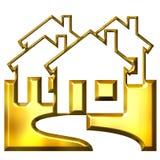 bens imobiliários 3D dourados Fotografia de Stock