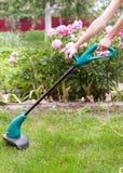 Bensingräsmattabeskäraren mejar saftigt grönt gräs på en gräsmatta på en solig sommardag Trädgårds- utrustning royaltyfria bilder