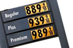 bensinpriser i morgon Arkivbild