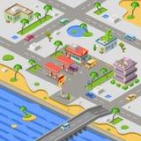 Bensinstation i illustration för vektor 3D för stadsöversikt isometrisk av bensinstationen för bilbensinbränsle i flodstrandstad royaltyfri illustrationer