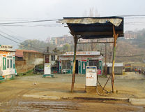 Bensinstation i Katmandu, Nepal Arkivfoto