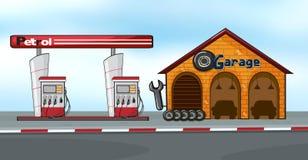 Bensinstation och garage stock illustrationer