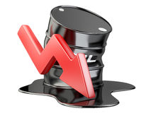 Bent barrel, spilled oil and chart arrow down. financial crisis. Royalty Free Stock Photo