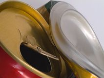 Bent beer can. Macro of twisted beer can, top and bottom stock image