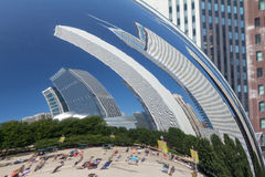 Bent Buildings Reflected in the Chicago Bean Royalty Free Stock Photos