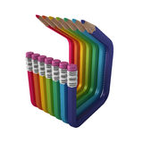 Bent colored abstract pencils Stock Images