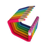 Bent colored abstract pencils Stock Photo