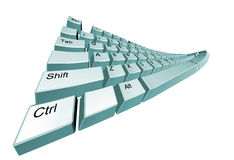 The bent computer keyboard. It is isolated on a white background Royalty Free Stock Photos