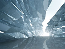 Bent crystal corridor with rugged walls. Abstract cool background. Bent crystal corridor with rugged walls and glowing end vector illustration