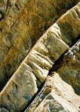 Bent curvy thick upright slabs of rock found on the California coastline Royalty Free Stock Photography