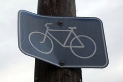 Bent cycling sign Royalty Free Stock Images
