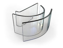 Bent glass. Isolated on white vector illustration