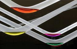 Bent glass tubes with colors. stock images