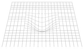 Bent grid in perspective. 3d mesh with convex distortion. Royalty free vector illustration Stock Image