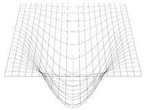 Bent grid in perspective. 3d mesh with convex distortion stock illustration