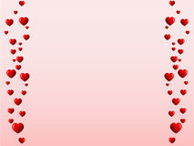 Bent lines of hearts. Pink background with bent lines of red hearts from the both side Royalty Free Stock Photography
