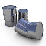 Bent metal barrel and barrels on white background Stock Images