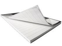 Bent open notepad. Isolated close-up on the white background Stock Image