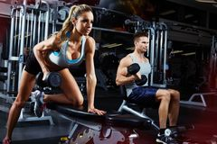 Bent over dumbbell workout royalty free stock photography