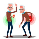 Bent Over Old Man From Back Ache, Sciatica Vector. Isolated Cartoon Illustration royalty free illustration