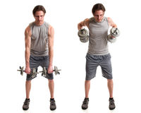 Bent Over Row. Bent-over row exercise. Studio shot over white royalty free stock photo