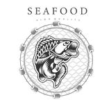 Bent perch in jump, in the center round fishing nets on white background. Logo for fish products or seafood in woodcut style stock illustration