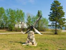 A bent propeller on display at watson lake Stock Photo