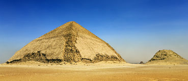 Bent Pyramid. Egypt. Dahshur (or Dashur). The Bent Pyramid (also knew as False, or Rhomboidal Pyramid because of it changed angle slope) of Pharaoh Sneferu and a stock photography
