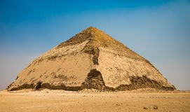 The Bent Pyramid Dashur Egypt. Built under the Old Kingdom Pharaoh Sneferu c. 2600 BC. The Bent Pyramid is a unique example of early pyramid development. For stock photo
