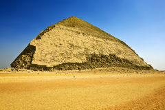 Bent Pyramid. Egypt. Dahshur (or Dashur). The Bent Pyramid (also knew as False, or Rhomboidal Pyramid because of it changed angle slope) of Pharaoh Sneferu with stock image