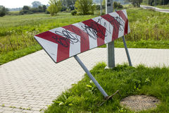 Bent Road Sign Fotografie Stock