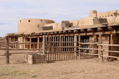 Bent`s Old Fort National Historic Site. Features a reconstructed 1840s adobe fur trading post on the mountain branch of the Santa Fe Trail where traders royalty free stock images