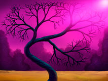 Bent Tree Digital Painting. Digital painting of a bent tree in a colorful pink landscape Stock Photo
