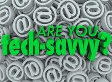 Bent u de Achtergrond van het het Symboolteken van Technologie Savvy E-mail Stock Foto