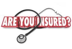 Bent u verzekerde de Gezondheidszorgdekking van de Vraagstethoscoop Stock Afbeelding
