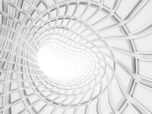Bent white tunnel interior, 3d render Stock Photo