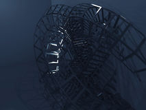 Bent wire-frame structure in dark room. 3d render Stock Image