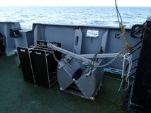 The benthic grab on the deck of research vessel. The benthic grab ready to launch on the deck of research vessel Stock Photo