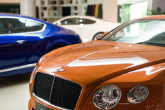 Bentley cars for sale. Bentley cars in showroom for sale,Bentley GT V8.  2014.06 Stock Photography