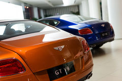 Bentley cars for sale. Bentley cars in showroom for sale,Bentley GT V8.  2014.06 Royalty Free Stock Photo