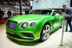 Bentley Continental GT beschleunigen, Autoausstellung Geneve 2015 Stockbilder
