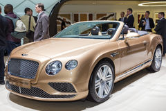 2015 Bentley Continental GT Convertible. Geneva, Switzerland - March 4, 2015: 2015 Bentley Continental GT Convertible presented the 85th International Geneva Stock Photo